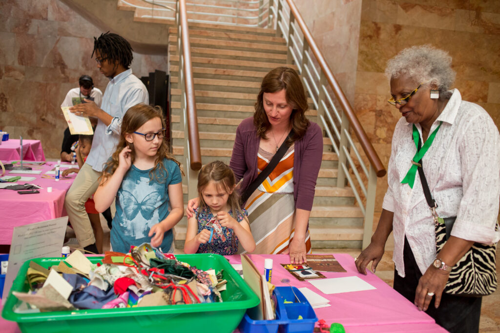 family crafting at VMFA Fine Arts Family Day