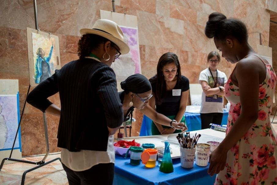 people painting at VMFA Fine Arts Family Day